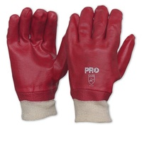 Red PVC Glove with Knitted Wrist