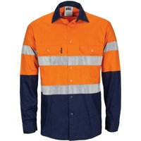 Hi-Vis R/W Cool-Breeze T2 Vertical Vented Cotton Shirt with Gusset Sleeves, Reflective - Long Sleeve