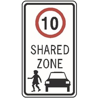 Regulatory Sign - Shared Zone R4-4 (Specify Speed)  - 450 x 750mm