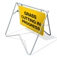Swing Stand & Sign - Grass Cutting In Progress - 900 x 600mm