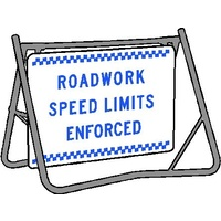 Swing Stand & Sign - Roadwork Speed Limits Enforced