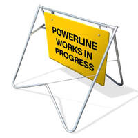 Swing Stand & Sign - Powerline Works In Progress - 900 x 600mm
