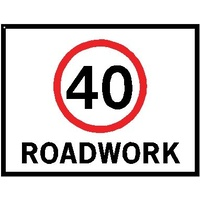 Boxed Edge Road Sign - 40KM/H Roadwork (Landscape) - 1200 x 900mm