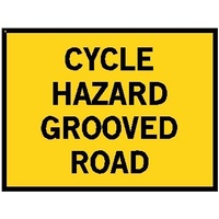 Boxed Edge Road Sign - Cycle Hazard Grooved Road - 1200 x 900mm