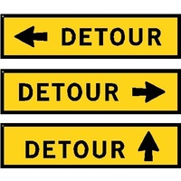 Boxed Edge Road Sign - Detour With Arrow - 1200 x 300mm
