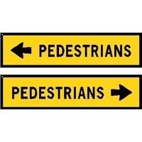 Boxed Edge Road Sign - Pedestrians (Left or Right Arrow) - 1200 x 300mm