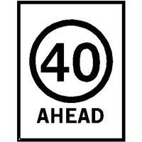 Boxed Edge Road Sign - 40km/h Ahead Roadwork (Portrait) - 1200 x 900mm