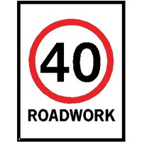Boxed Edge Road Sign - 40km/h Roadwork (Portrait) - 1200 x 900mm