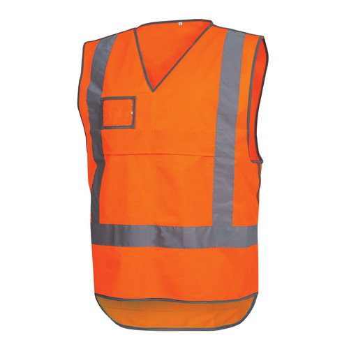 Rail Safety Vest Pull Apart - Fluoro Orange Reflective - Orange - M