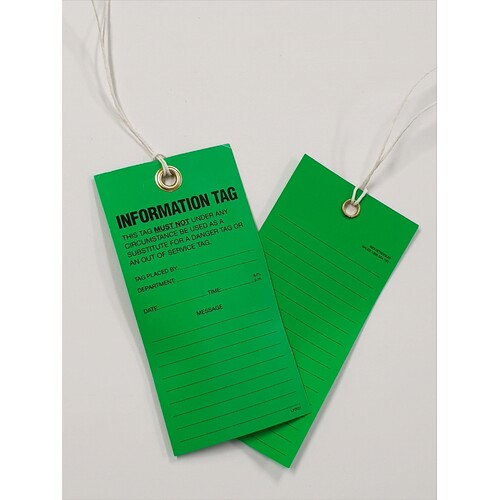 Premium Lock Out Mining Tags- Information Tag-Pack of 100