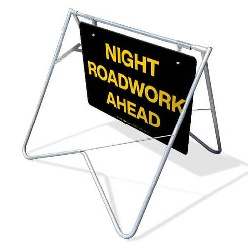 Swing Stand & Sign - Night Roadwork Ahead - 1200 x 900mm
