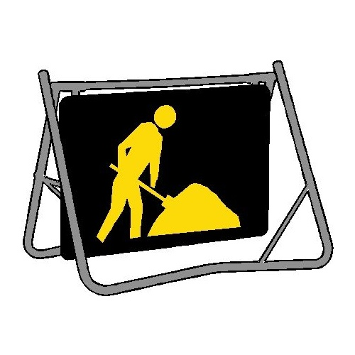 Swing Stand & Sign - Worker Symbol (Nightwork) - 1200 x 900mm