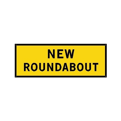 Boxed Edge Road Sign - New Roundabout - 1800 x 900mm