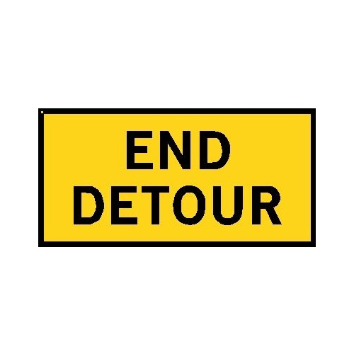 Boxed Edge Road Sign - End Detour - 1200 x 600mm