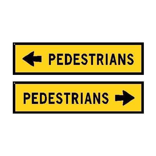 Boxed Edge Road Sign - Pedestrians (Left or Right Arrow)