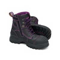 Blundstone® 897 Ladies Black and Purple Zipsider Premium Safety Boot   - 10