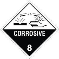 Corrosive 8 Dangerous Goods Sign  - 250 x 250mm