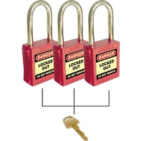 3 Keyed Alike Padlock Set - Green