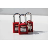 Bastion™ 3 Keyed Alike Safety Lockout Isolation Padlock Set - Red