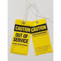 Premium Lock Out Mining Tags- Out of Service-Pack of 100