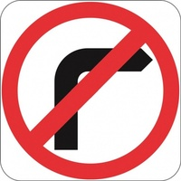 R2-6M(R) No Right Turn- Class 1 Reflective - 600mm x 600mm