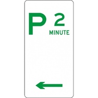R5-12_Left Left Arrow 2 Minute Parking Sign- Class 1 Reflective - 225mm x 450mm