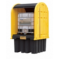 IBC Outdoor Shed with Pallet, forklift pockets, rolltop doors