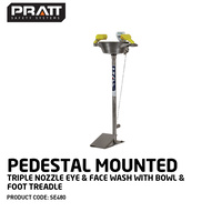 Pratt™ Pedestal Mounted Triple Nozzle Eye & Face Wash With Bowl & Foot Treadle