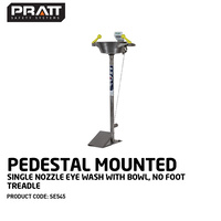 Pedestal Mounted Single Nozzle Eye Wash With Bowl. No Foot Treadle