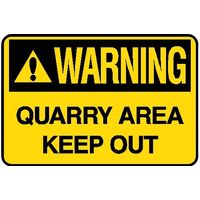 Hazard Area - Warning Quarry Area Sign