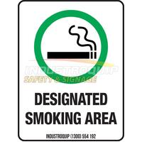 Designated Smoking Area Safety Sign