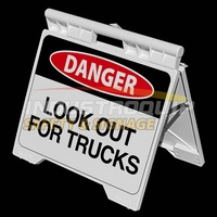 Danger Look Out For Trucks - Heavy Duty A Frame Sign