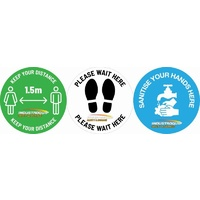 Social Distancing & Sanitise Here Floor Marker Sticker Pack