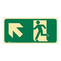 Luminous Exit Sign Man Running Arrow Top Left