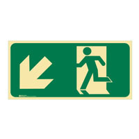 Luminous Exit Sign Man Running Arrow Bottom Left