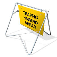 Swing Stand & Sign - Traffic Hazard Ahead - 900 x 600mm