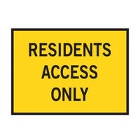 Boxed Edge Road Sign - Residents Access Only - 900 x 600mm