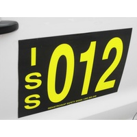 Custom UHF Call Up Signs/ Vehicle ID Number Plates for Construction and Mining- Self Adhesive