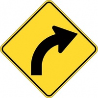 W1-3A-R Right Arrow Curve Sign- Class 1 Reflective - 600mm x 600mm