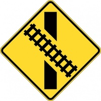 W7-9A_R Train Crossing Angle Right Sign- Class 1 Reflective - 600mm x 600mm