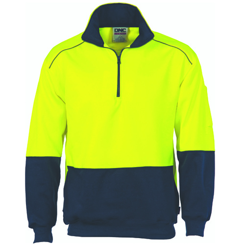 DNC HiVis Two Tone 1/2 Zip Reflective Piping Sweat Shirt