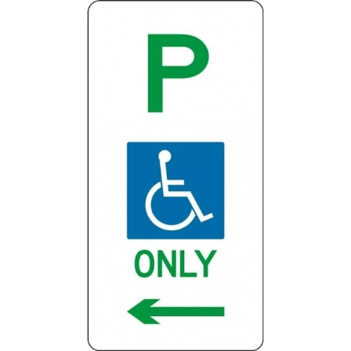 R5-31_Left Left Arrow Disabled Parking Sign- Class 1 Reflective - 225mm x 450mm