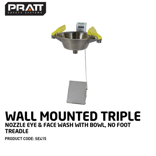 Pratt™ Wall Mounted Triple Nozzle Eye & Face Wash With Bowl & Foot Treadle