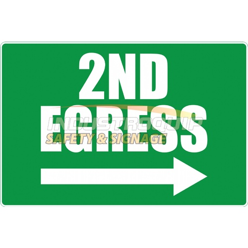 Reflective 2nd Egress Sign - Class 1 - 600mm x 450mm