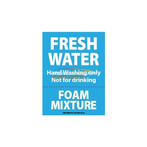 Fresh water foam mixture safety sticker