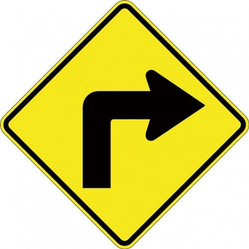 W1-1A_Right Right Arrow Turn Sign- Class 1 Reflective - 600mm x 600mm